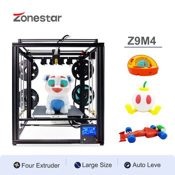 ZONESTAR Four Extruders Multi Color Large Size Frame 3D Printer DIY Kit 4-IN-1-OUT Auto Mixing Easy Level Overseas Warehouse